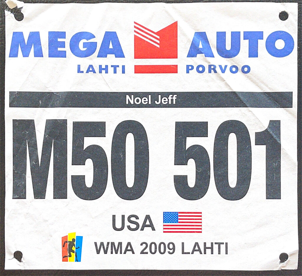 Track bib from 2009 Masters track and field world championships